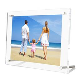 NIUBEE 4x6 Clear Acrylic Desktop Picture Frame, Beveled Fram