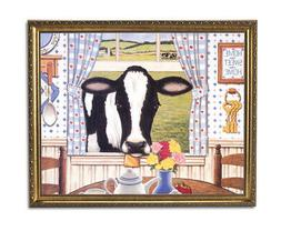 Country Cow Home Kitchen Window Folk Animal Wall Picture Gol