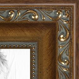 ArtToFrames 12x18 inch Dark Gold with Beads Wood Picture Fra