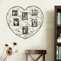 Decorative Black Iron Heart-Shape 6 Opening Picture Frame Co