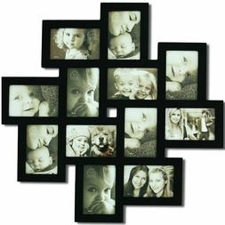Adeco Decorative Black Wood Wall Hanging Collage Picture Pho