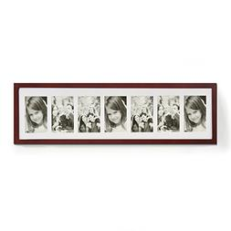 Adeco 7 Openings Walnut Wood Wall Hanging Family Picture Pho