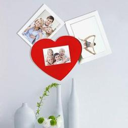Adeco Decorative White/Red Wood Wall Hanging Collage Picture
