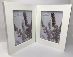 """Adeco Decorative White Wood Hinged Picture Frame 5x7"""" Phot"""