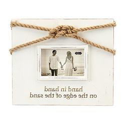"Mud Pie Distressed Painted Wood Wedding Knot Frame 5"" x 7"""