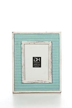 Hosley Distressed Teal Slat Board Tabletop Picture Frame, 5x