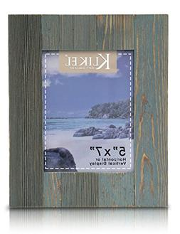Klikel Distressed Wood 5 X 7 Picture Frame - Blue Solid Wood