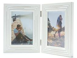Double Folding 4x6 White Wood Picture Frame with Glass Front