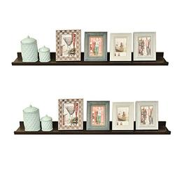 WELLAND Set of 2 Floating Wall Ledge Shelves for Pictures an