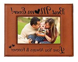 GIFT FOR MOM - Engraved Leatherette Picture Frame -Best MOM
