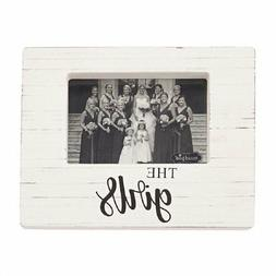 Mud Pie The Girls White Washed Wooden Block Frame