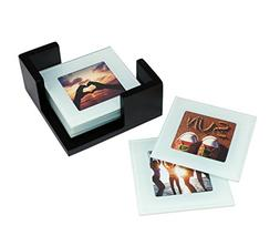Kiera Grace Glass Picture Coaster with Wooden Holder Set, 3.