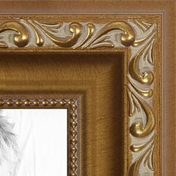 ArtToFrames 24x36 inch Gold with beads Wood Picture Frame, W