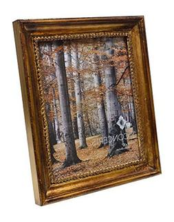 Concepts Gold Brown Wood Picture Frame With Inner Lace Trim