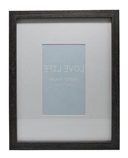 9x11 Gray Photo Picture Frame - Matted to Fit 4x6 inch Photo