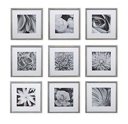 Gallery Perfect 9 Piece Greywash Square Photo Frame Wall Gal