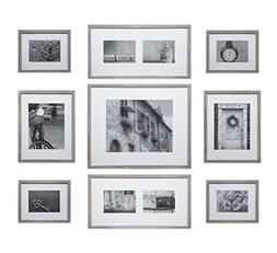 Gallery Perfect 9 Piece Greywash Wood Photo Frame Wall Galle