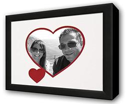 Heart & Love Picture Frame - Black Wood Frame With Heart Sha