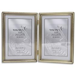 5 x 7 Hinged Double Picture Frame in Antique Brushed Brass
