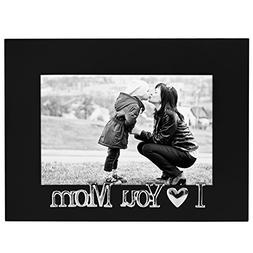 I Love You Mom Picture Frame, Glass Front - Color: Black - F