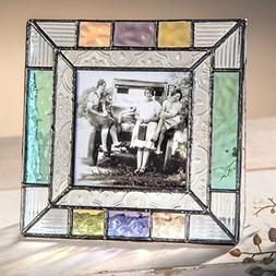 J Devlin Pic 372 Colorful Stained Glass 3x3 Picture Frame Bl