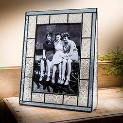 J Devlin Pic 159-57V Blue Stained Glass Picture Frame Holds
