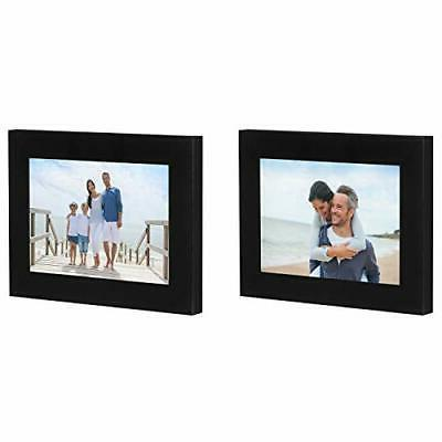 Americanflat 2 Pack Black Picture Frames with Easel- 4x6, 5x