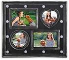 Adeco 4 Openings Vintage Black Picture Frame with LED Lights