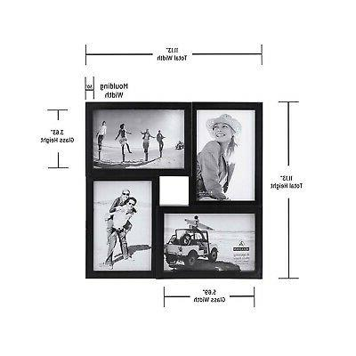 Malden 4-Opening Collage Picture Frame, Four, Black