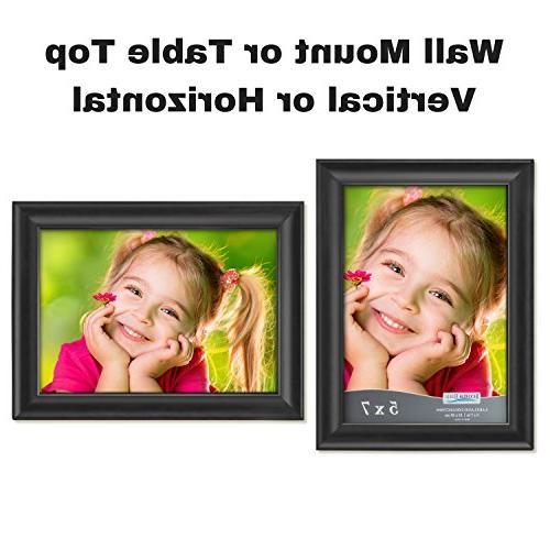 Icona 5x7 Picture Frames Photo Wall Mount and Table Top, Landscape as Black Picture Portrait 5x7, Lakeland