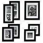 7 Piece Black Wood Photo Hanging Frame Wall Gallery Kit Deco