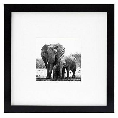 8x8 Black Picture Frame - Matted to Fit Pictures 4x4 Inches