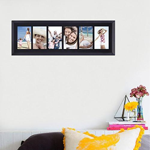 Adeco 6-Opening Decorative Black Wood Wall Photo Frames, by 6""