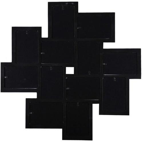 """Adeco Black Wood Wall Collage Photo Frame, Openings, 4x6"""""""