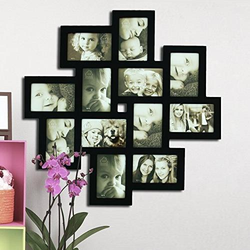"""Adeco Black Wall Hanging Picture Photo 12 4x6"""""""