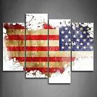 American Flag USA Map Modern Canvas Prints Picture Wall Art