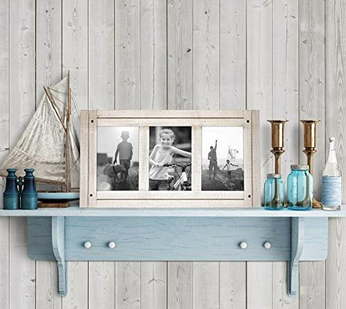Americanflat Aspen Collage Wood - Display Three Photos White Ready Hang Stand on