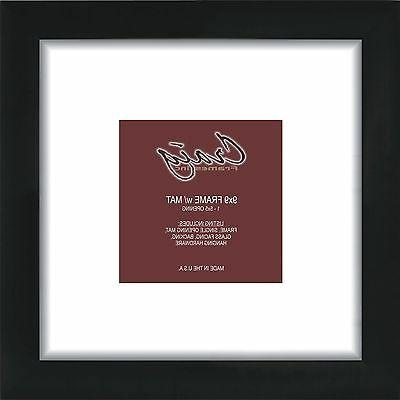 12x12 Black 1 Inch Wide Picture Frame, Single White Mat with
