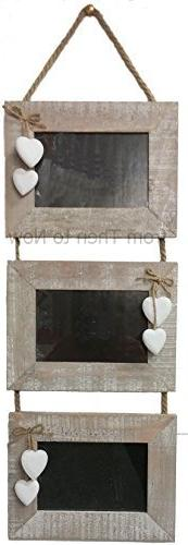Chic Shabby Wooden Landscape 3 Tier Multi Photo Frame Hangin