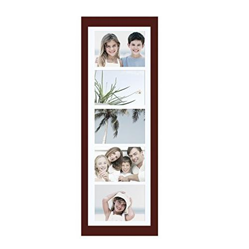 Adeco 5 Openings Wood Photo Frame Made to Display 5x7 Photos