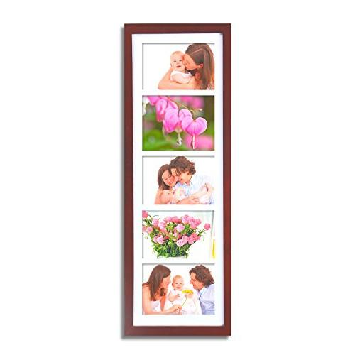 Adeco Openings Wood Photo Picture Frame Made to Display Five 5x7