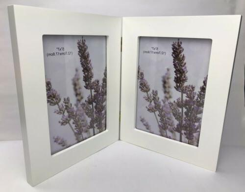 decorative white wood hinged picture frame 5x7