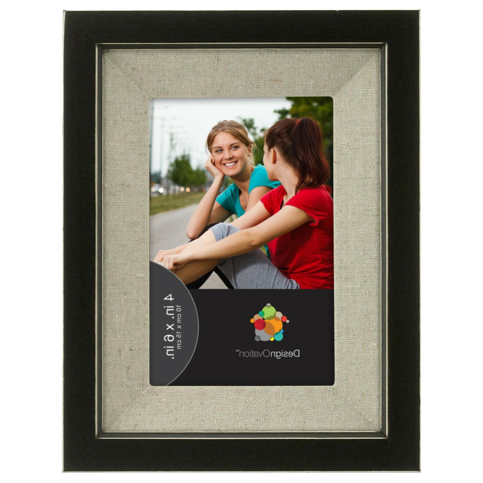 distressed black wood picture frame with linen