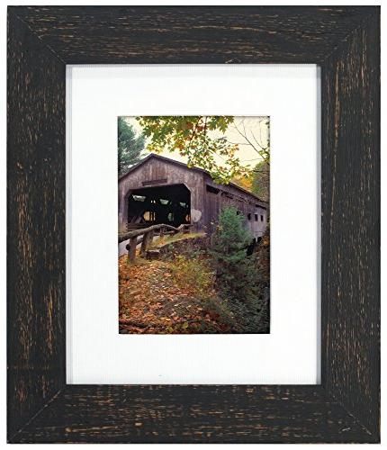 distressed wood matted picture frame
