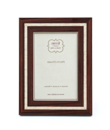 eccolo marquetry photo frame holds 7 inch mother pearl dark