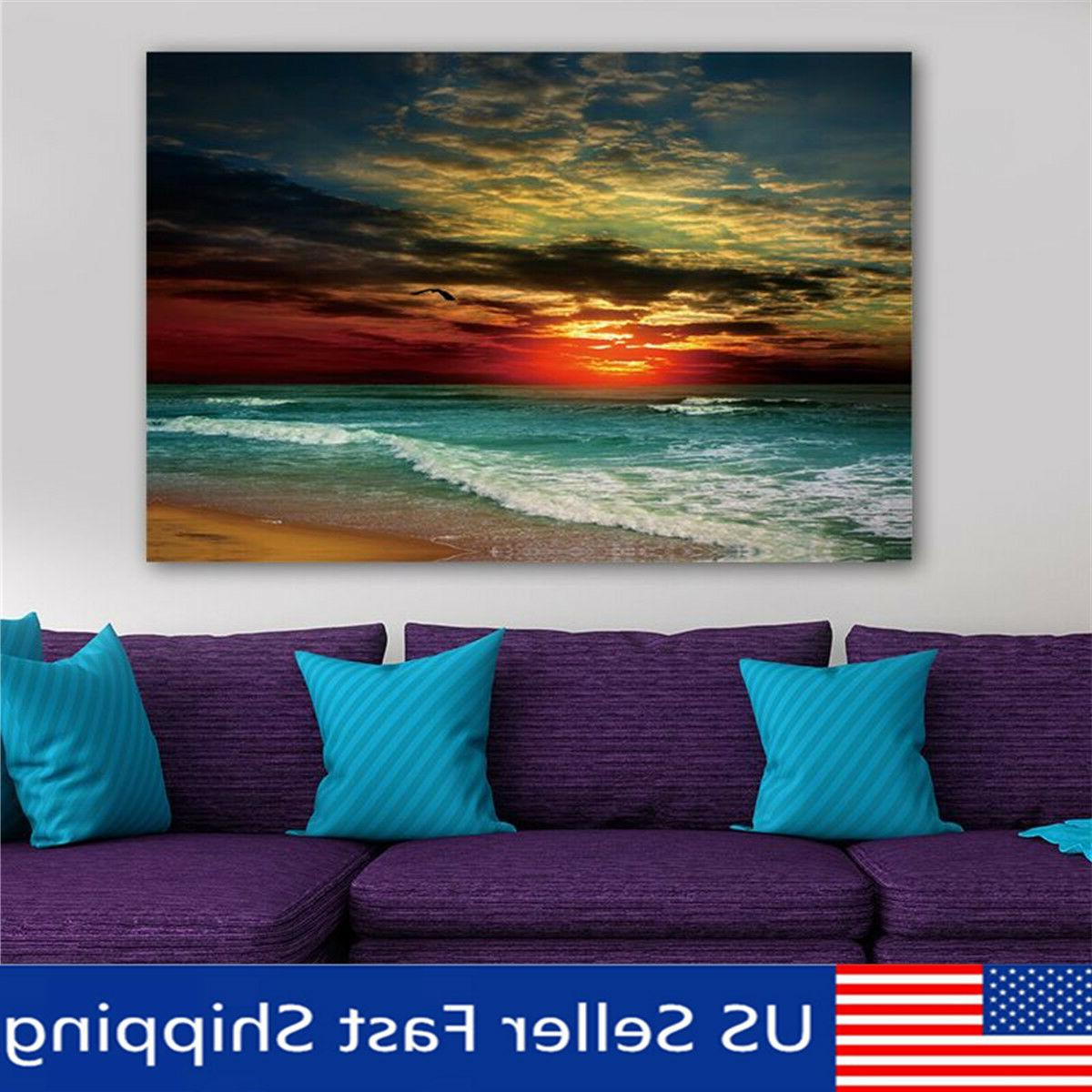 Framed Sunset Beach Sea Modern Canvas Art Painting Print Wal