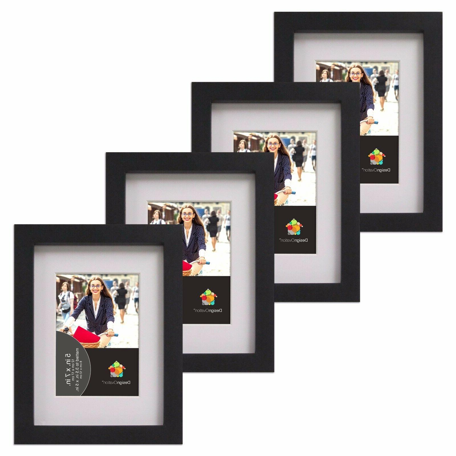 Gallery 5x7 matted to 3.5x5 Black Wood Picture Frame, Set of