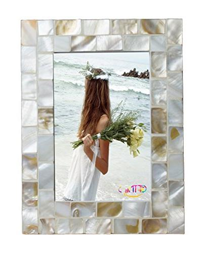GIFTME Mother Pearl Pictures Mount Tabletop Family Photo by inch