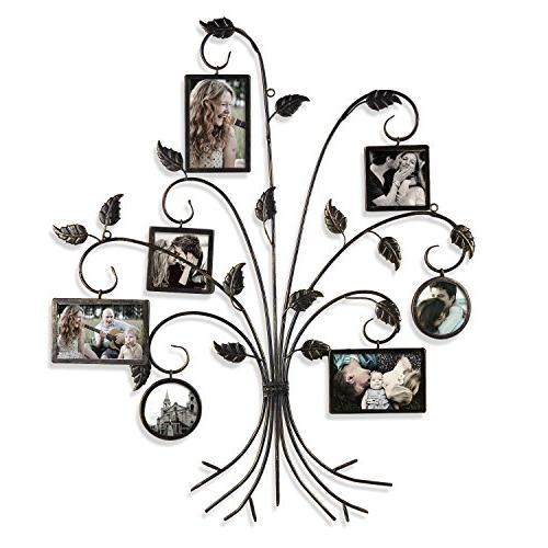 """Adeco PF0591 Black Decorative 7-Opening Collage Iron Metal Hanging Picture Photo Frame, 4x4"""",As Picture"""