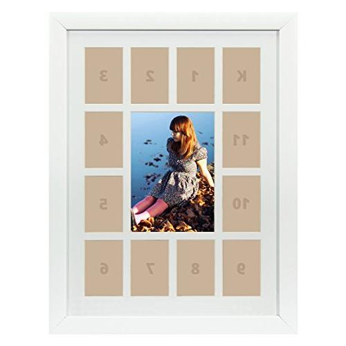 "Craig Frames, 12x16"" White Picture Frame, White Collage Mat"